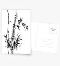Bamboo stalk with leaves Sumi-e rice paper Zen painting artwork art print Postcards