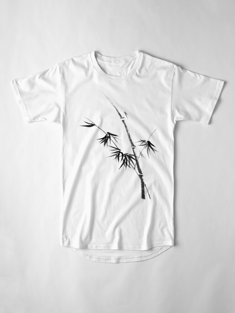 Alternate view of Bamboo stalk with young leaves minimalistic Sumi-e Japanese Zen painting artwork art print Long T-Shirt