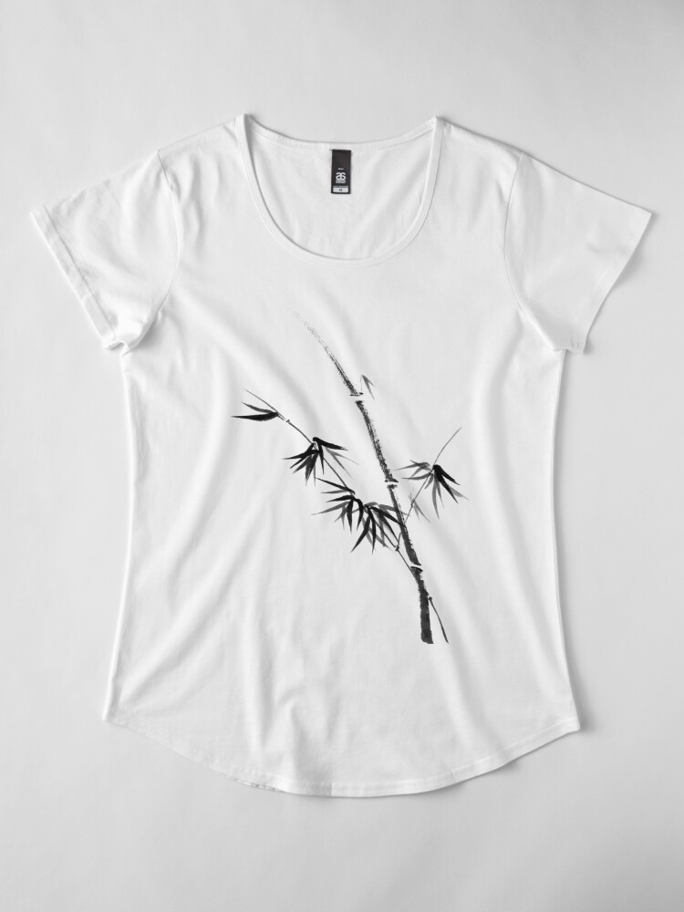 Alternate view of Bamboo stalk with young leaves minimalistic Sumi-e Japanese Zen painting artwork art print Premium Scoop T-Shirt