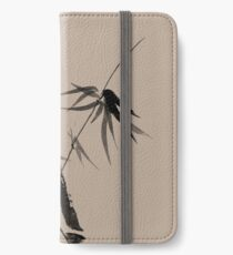 Bamboo stalk with young leaves minimalistic Sumi-e Japanese Zen painting artwork art print iPhone Wallet/Case/Skin