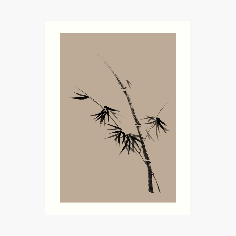 Bamboo stalk with young leaves minimalistic Sumi-e Japanese Zen painting artwork art print Art Print