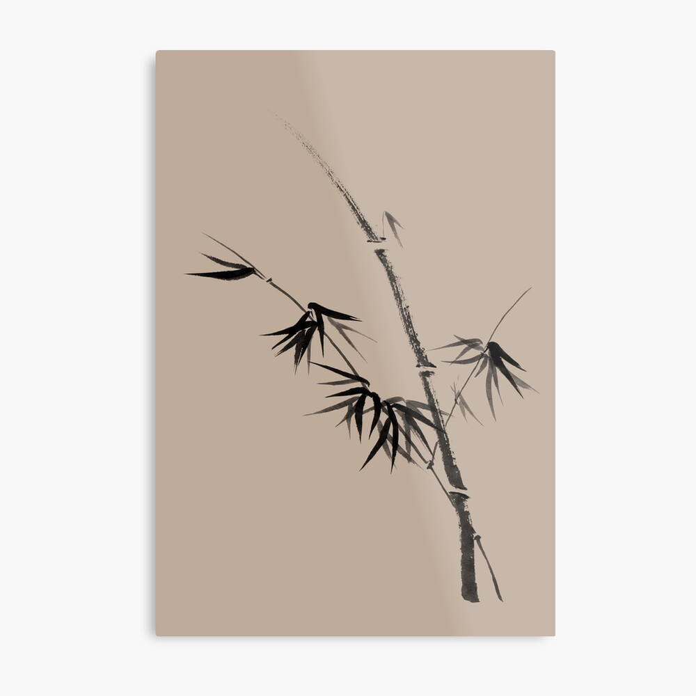Bamboo stalk with young leaves minimalistic Sumi-e Japanese Zen painting artwork art print Metal Print
