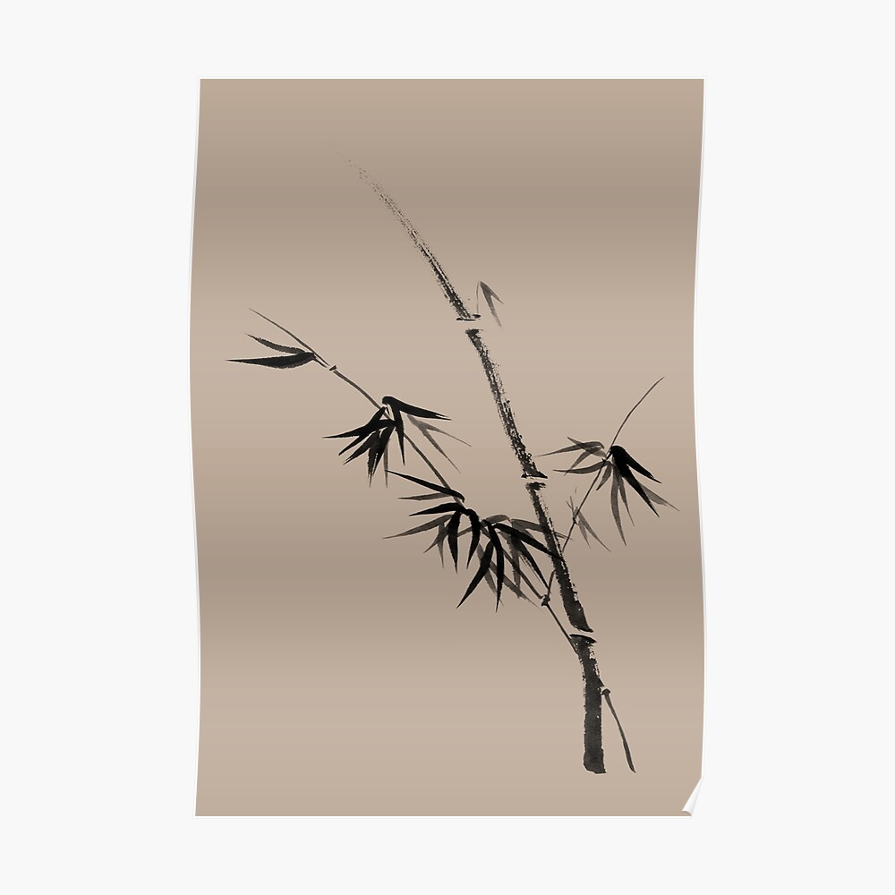 Bamboo stalk with young leaves minimalistic Sumi-e Japanese Zen painting artwork art print Poster
