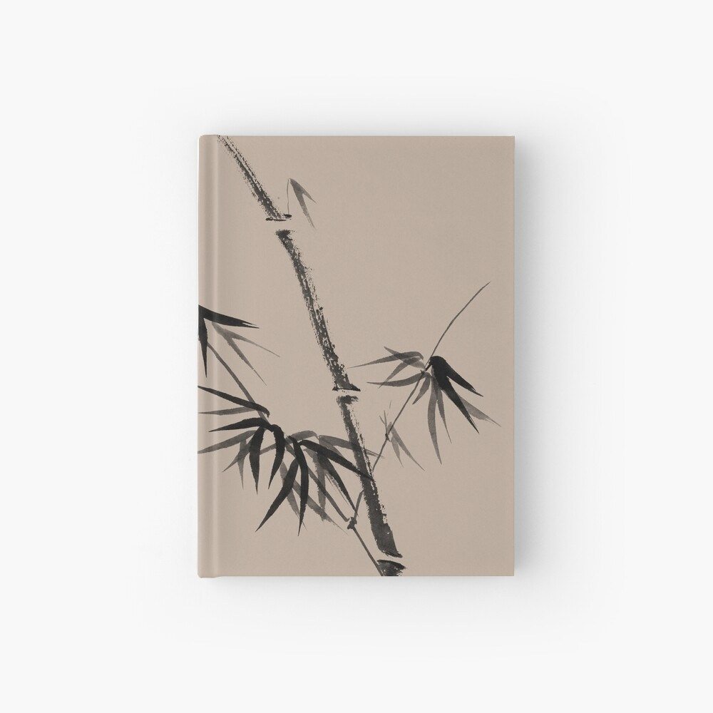 Bamboo stalk with young leaves minimalistic Sumi-e Japanese Zen painting artwork art print Hardcover Journal