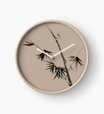 Bamboo stalk with young leaves minimalistic Sumi-e Japanese Zen painting artwork art print Clock