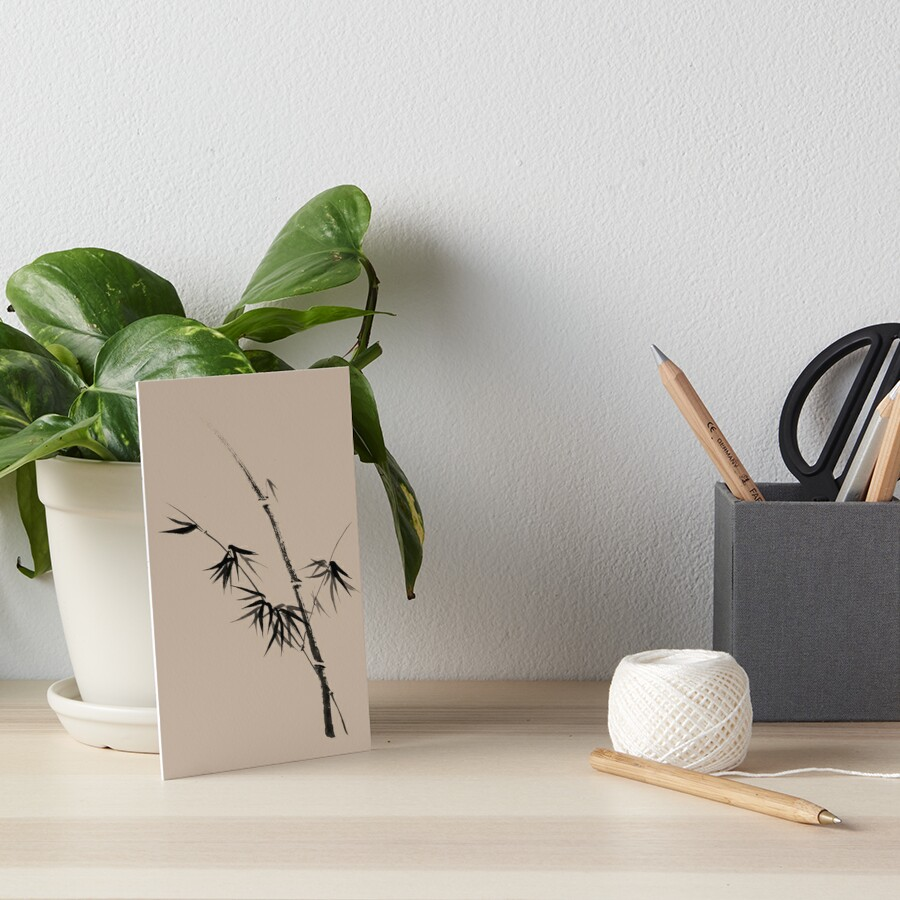 Bamboo stalk with young leaves minimalistic Sumi-e Japanese Zen painting artwork art print Art Board Print