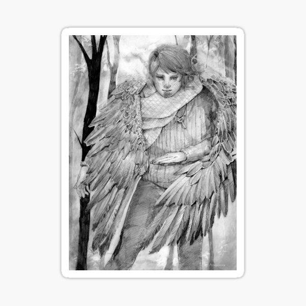 Winged traveler in the woods Sticker