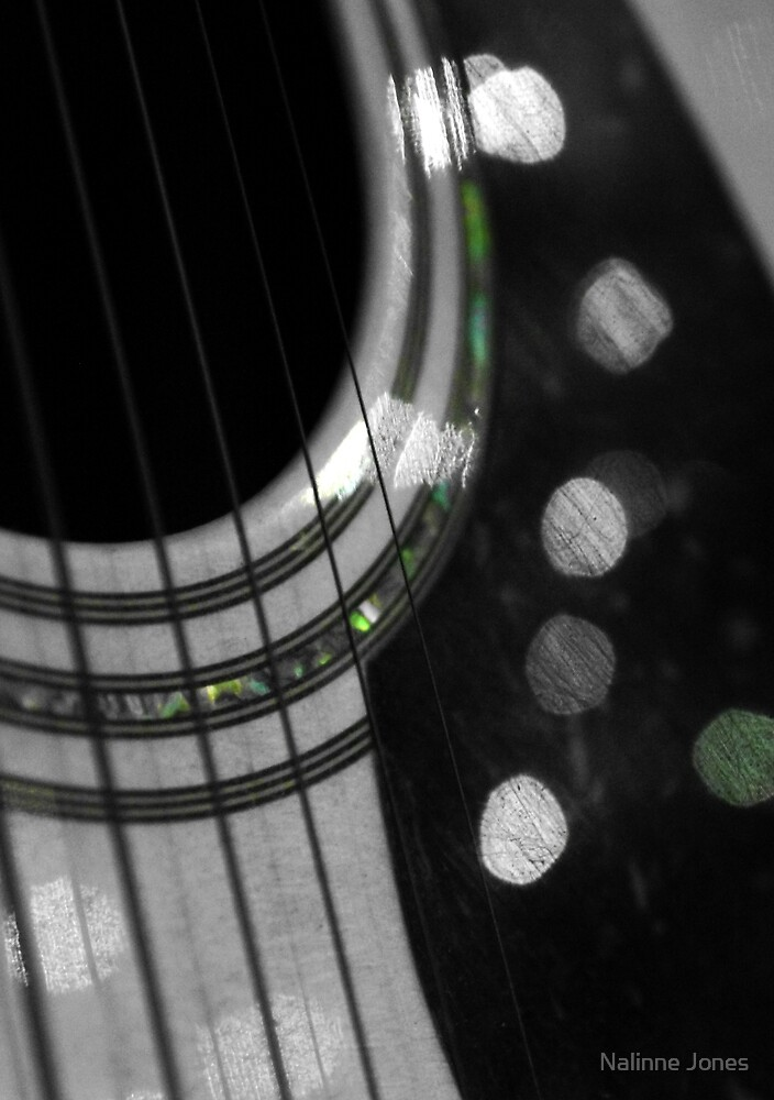 Guitar Bokeh Black and White by Nalinne Jones