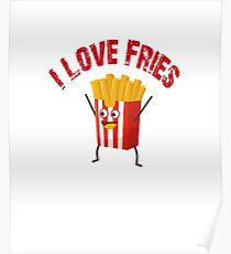 I Love Fries Funny Cute Vintage French Poster