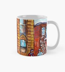 CANADIAN ART AND ARCHITECTURE MONTREAL SCENES STREET CORNER HOCKEY PAINTING Mug
