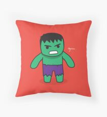 Cute Angry Green Cartoon Throw Pillow