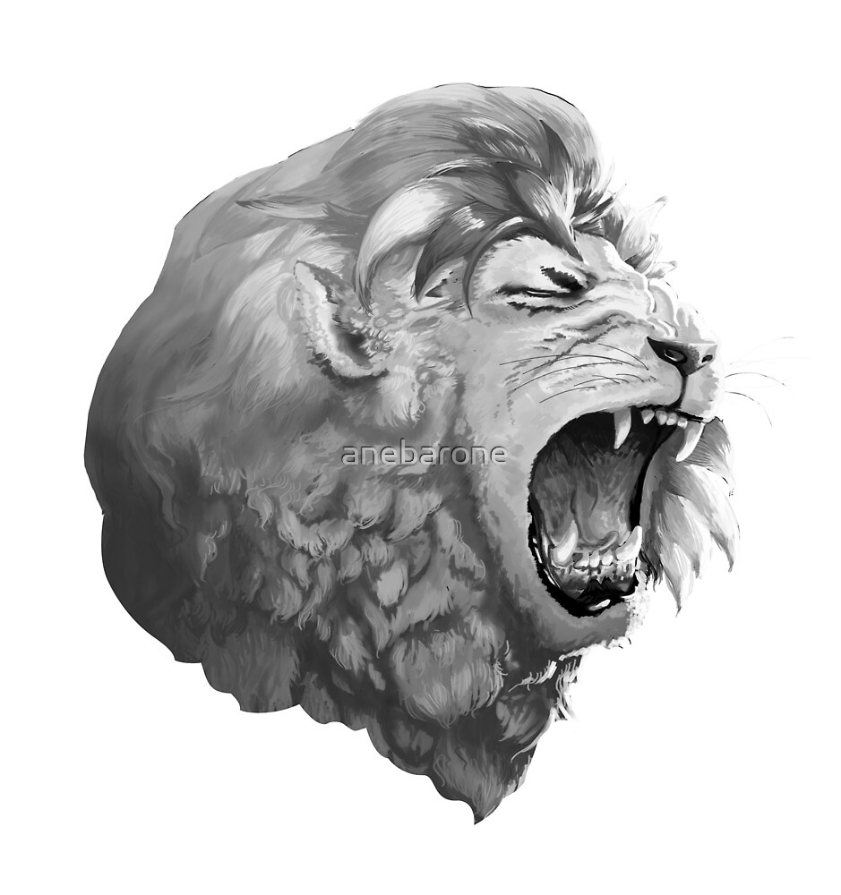 Grayscale Lion by anebarone