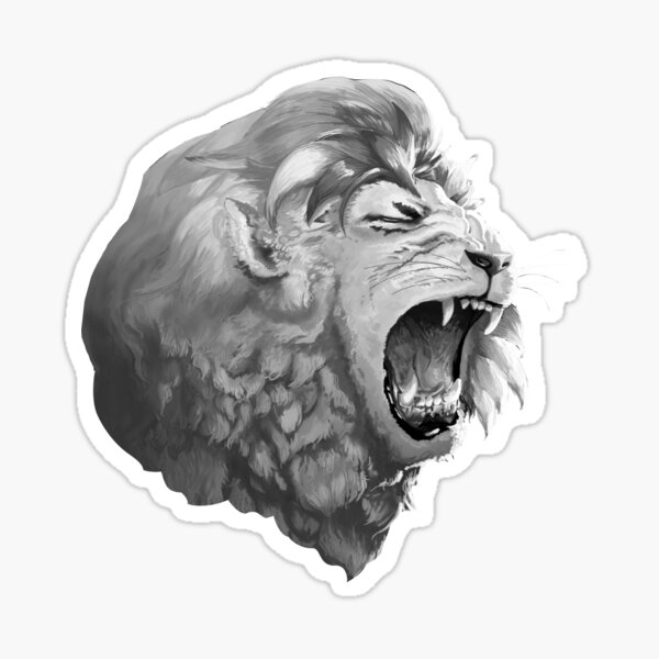Grayscale Lion Sticker