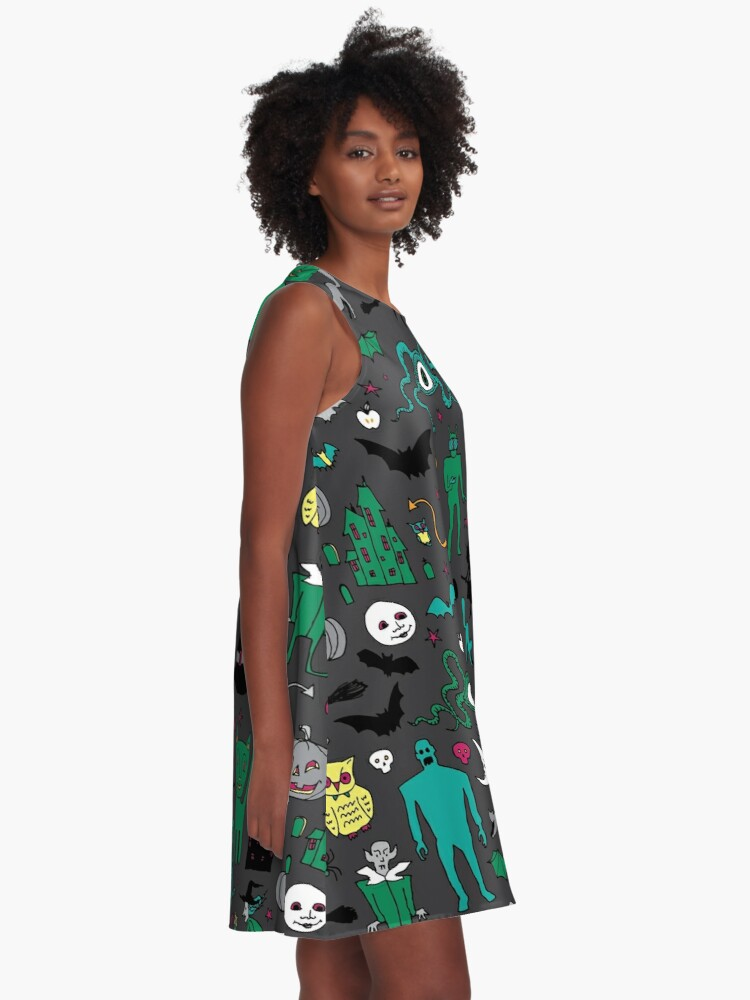 Alternate view of Retro Halloween - on grey - Halloween pattern by Cecca Designs A-Line Dress