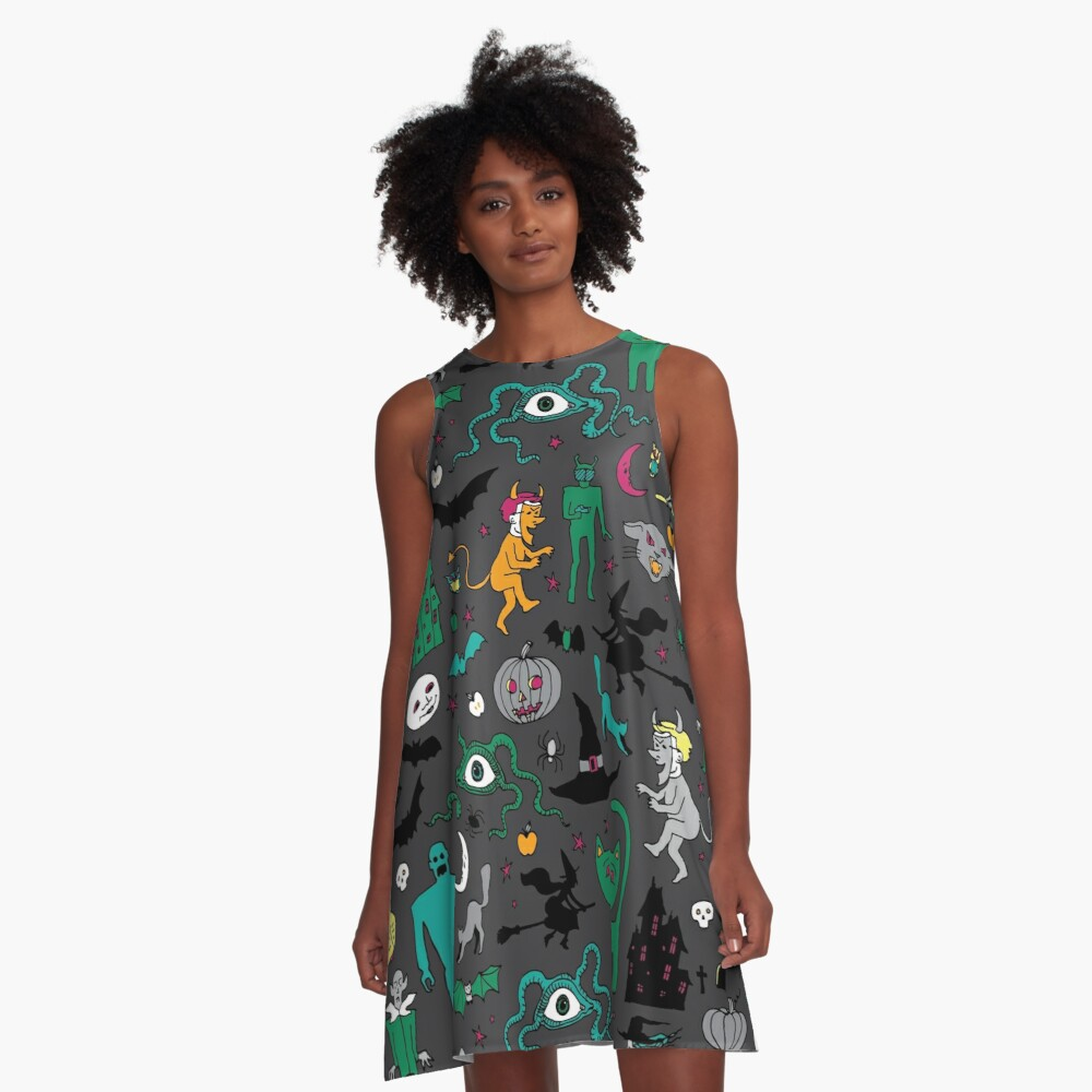 Retro Halloween - on grey - Halloween pattern by Cecca Designs A-Line Dress