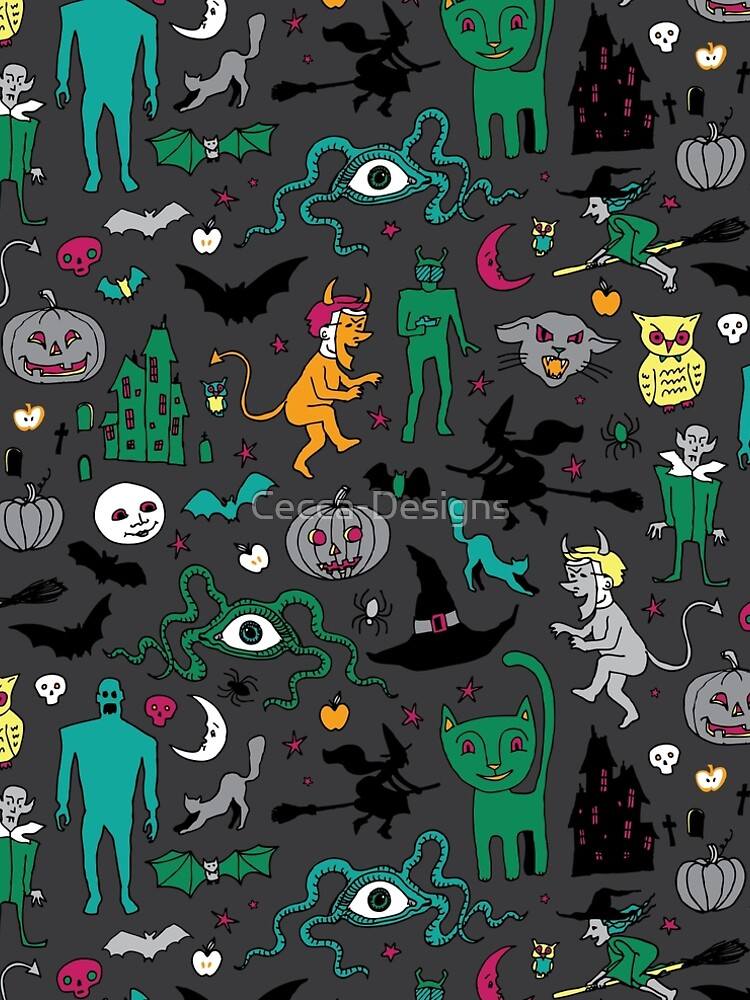 Retro Halloween - on grey - Halloween pattern by Cecca Designs by Cecca-Designs