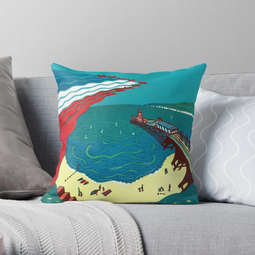 Red Arrows, Bournemouth Beach - Original linocut by Francesca Whetnall Throw Pillow
