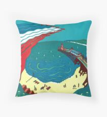 Red Arrows, Bournemouth Beach - Original linocut by Francesca Whetnall Throw Pillow