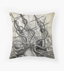 Vintage Kraken, Octopus Illustration Throw Pillow