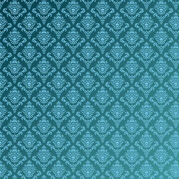 Pirate's Life Ocean Teal Damask Floral Pattern by pirateslife