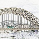 Tyne Bridge - Line Art by Mark A Hunter