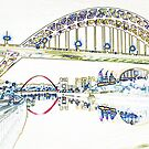 Tyne Downstream - Line Art by Mark A Hunter