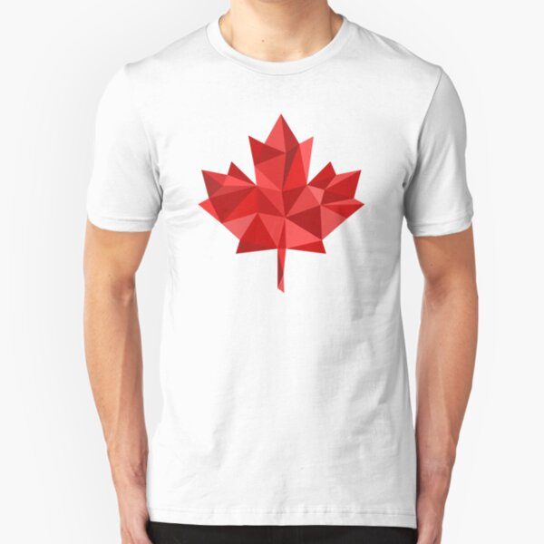Maple Leaf - Low Poly Slim Fit T-Shirt