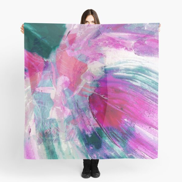 Dancing Abstract Digital Art Design Print in Bright Pink Turquoise-green Scarf