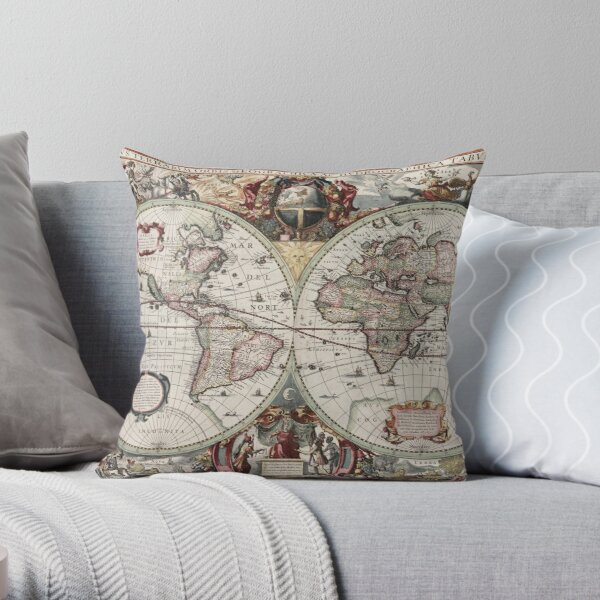 Vintage Maps Of The World. Geographic and Hydrographic Map of the Whole World Throw Pillow