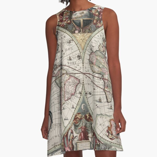 Vintage Maps Of The World. Geographic and Hydrographic Map of the Whole World A-Line Dress