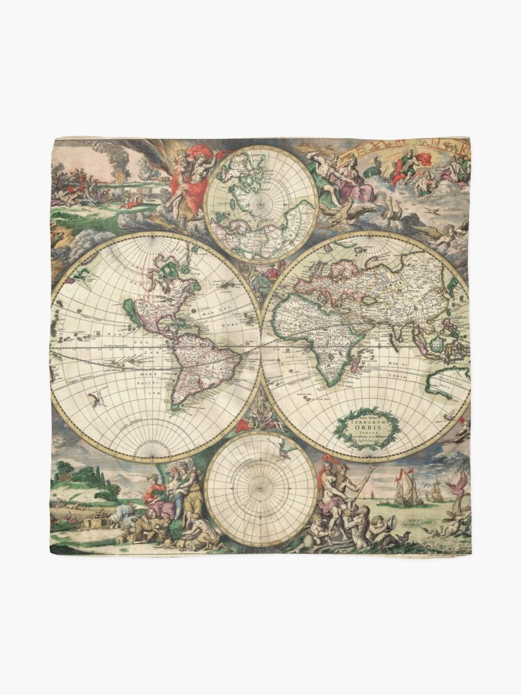 Alternate view of Vintage Maps Of The World 1689 Scarf