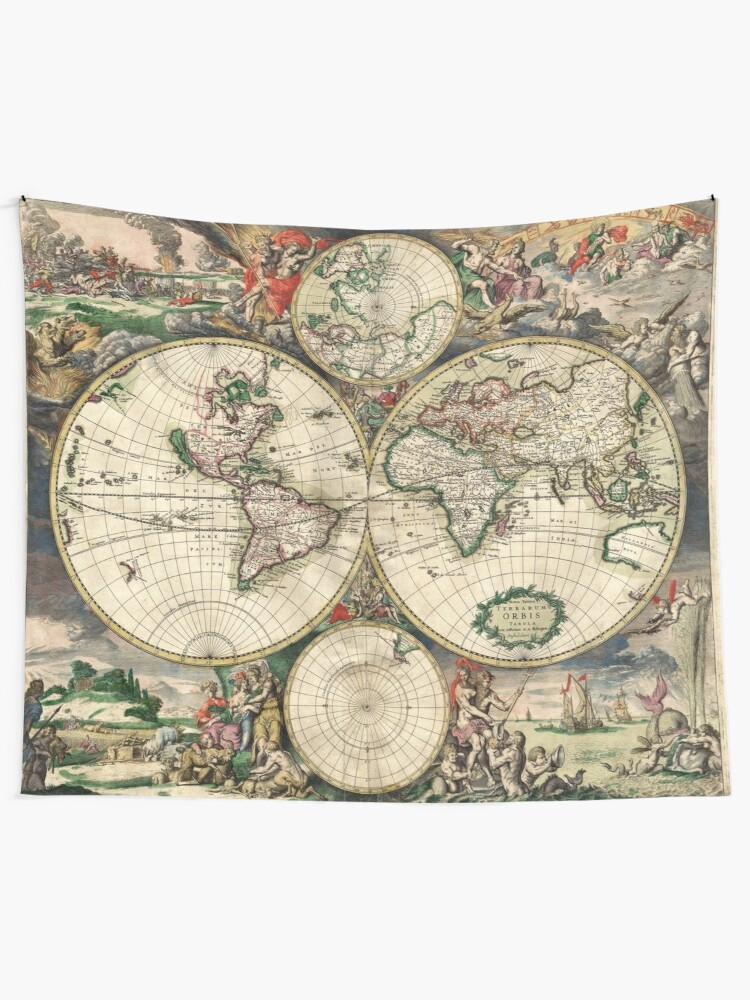Alternate view of Vintage Maps Of The World 1689 Tapestry
