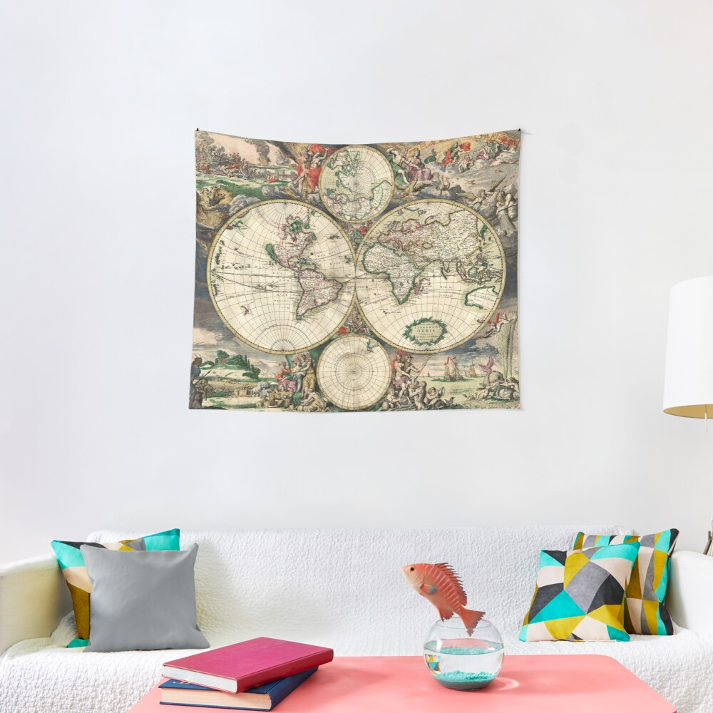 Vintage Maps Of The World 1689 Tapestry