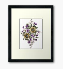 Geometric Sunflower Pattern Framed Print