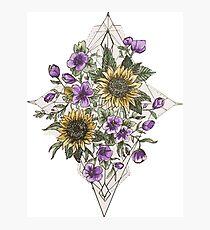 Geometric Sunflower Pattern Photographic Print