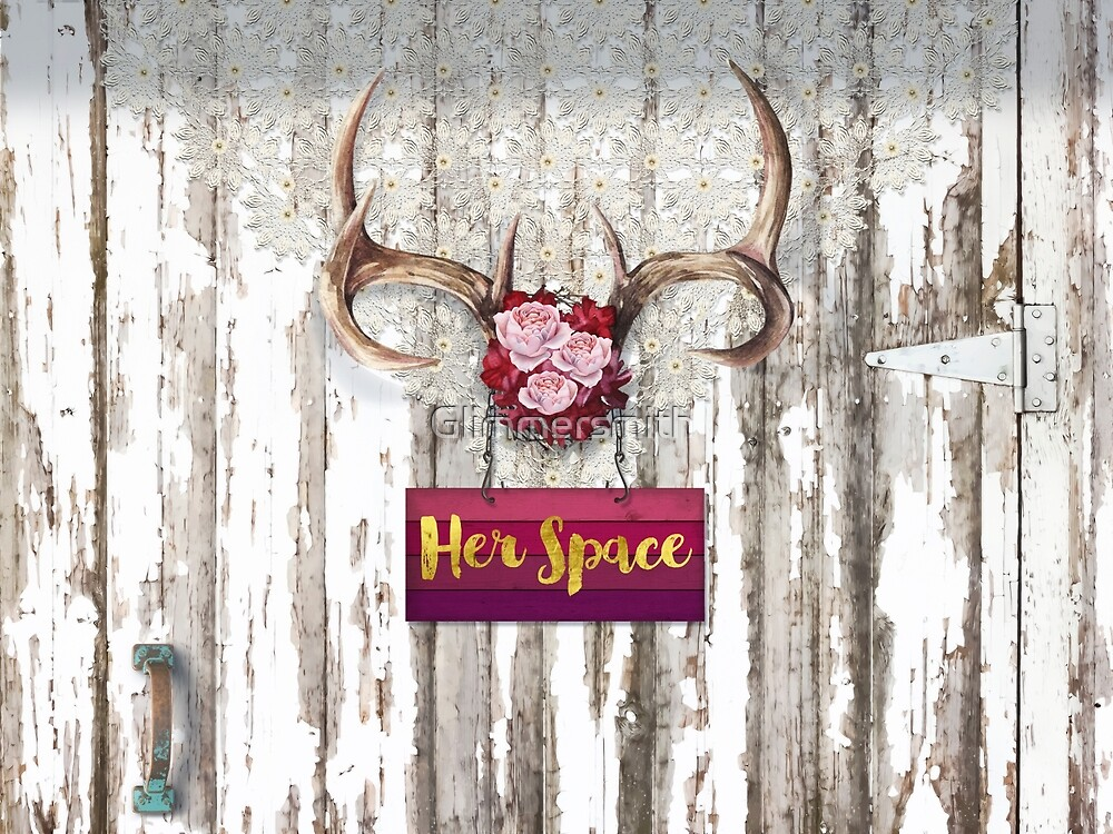 Her Space, deer antlers, flowers, Santa Fe cottage style by Glimmersmith