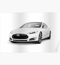 White Tesla Model S luxury electric car art photo print Poster