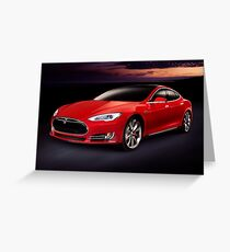 Tesla Model S red luxury electric car outdoors art photo print Greeting Card