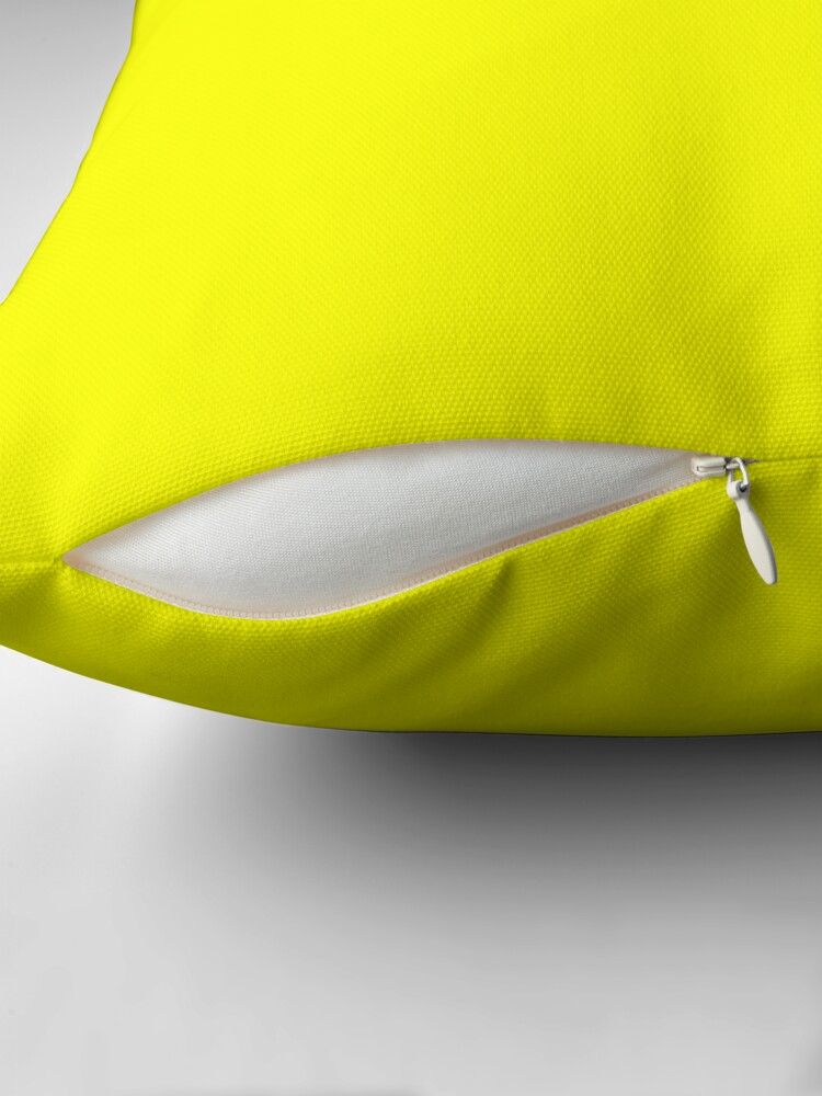 Alternate view of Neon fluorescent Yellow | Yellow|neon Yellow/Fluro Yellow Throw Pillow