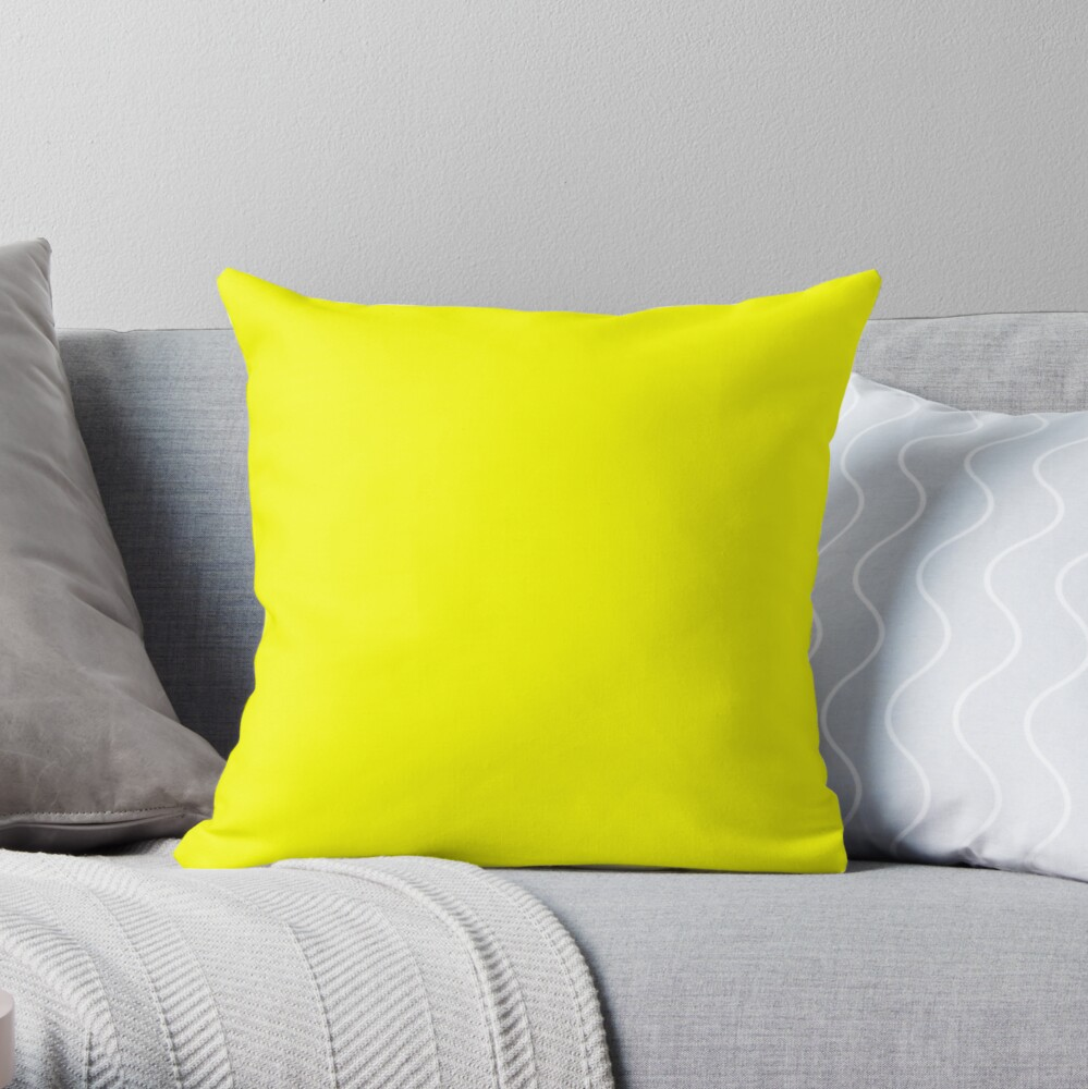 Neon fluorescent Yellow | Yellow|neon Yellow/Fluro Yellow Throw Pillow