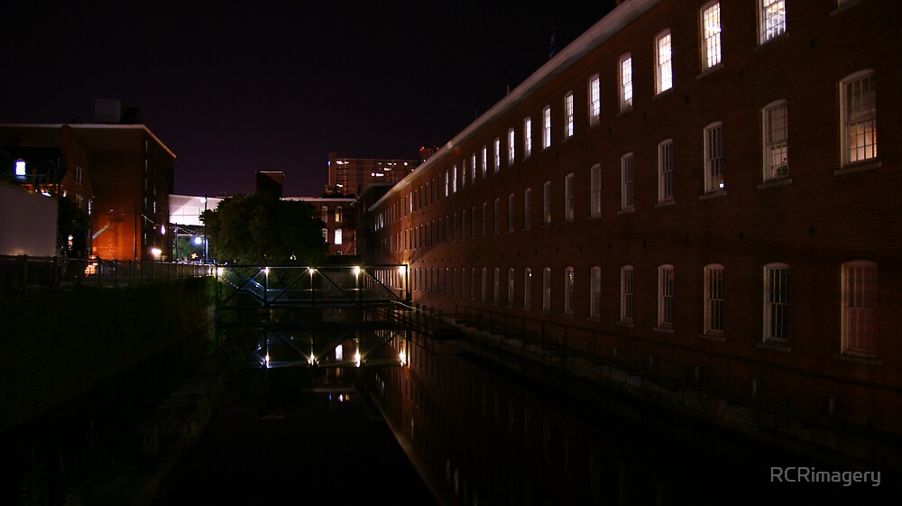 Boott Mill on the canal by night by RCRimagery