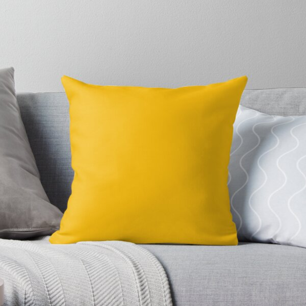 PLAIN SOLID YELLOW - AMBER YELLOW  - BY OZCUSHIONS  Throw Pillow
