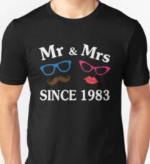 Cool Gifts For Wedding Anniversary Since 1983. Funny T-shirt For Couples Unisex T-Shirt