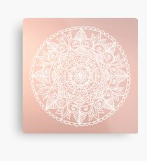 White Mandala on Rose Gold Metal Print