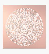 White Mandala on Rose Gold Photographic Print