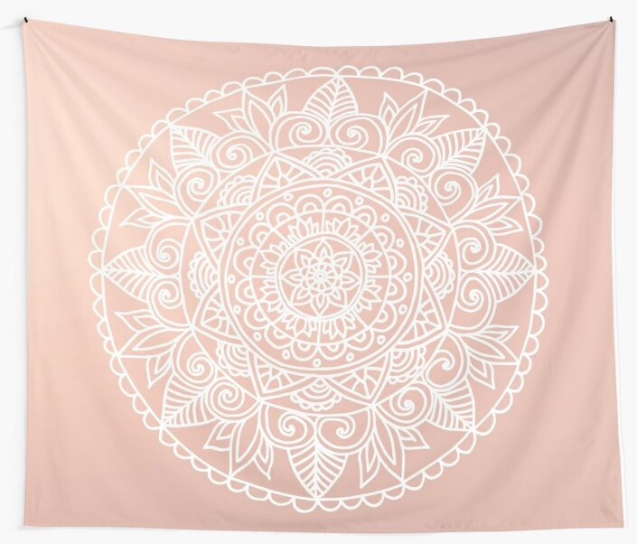 White Mandala on Rose Gold by julieerindesign