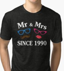 Cool Gifts For Wedding Anniversary Since 1990. Funny T-shirt For Couples Tri-blend T-Shirt