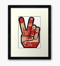 Vintage Fingers Peace Sign Canada Flag Framed Print