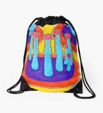 Pink Shrooms on Yellow Drawstring Bag