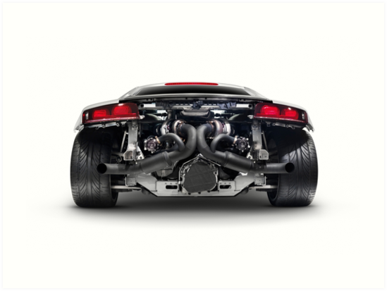Audi Quattro R Turbo Sports Car Rear View With Exposed Engine Art - Sports cars png